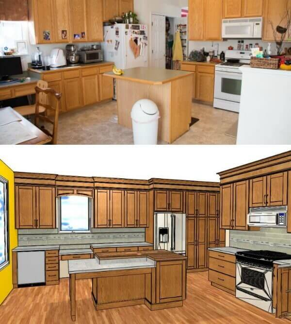 Before and New Design of the kitchen island with eat at area.