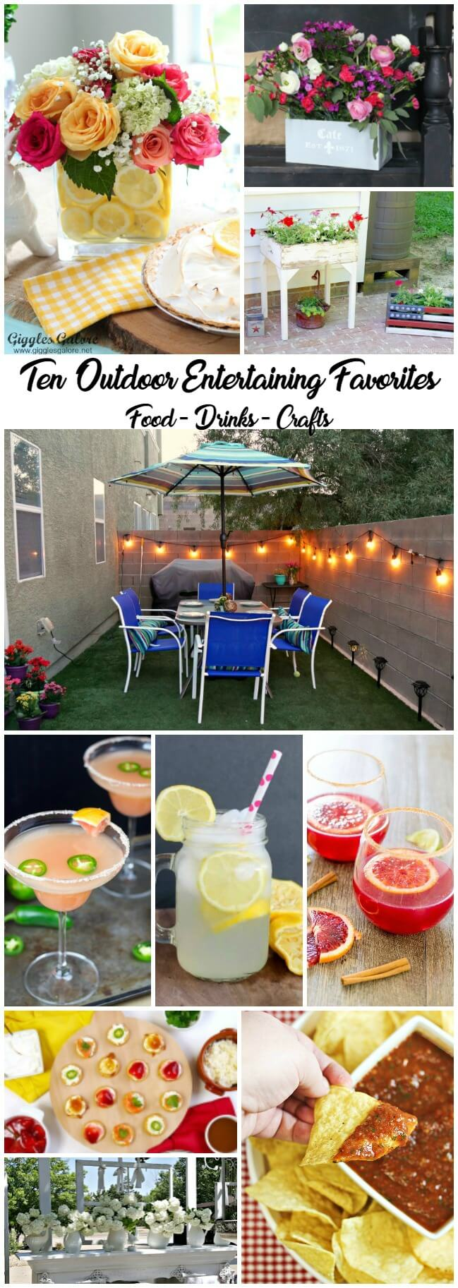 10 Outdoor Entertaining Favorites including food, drinks and crafts to get you backyard party ready!