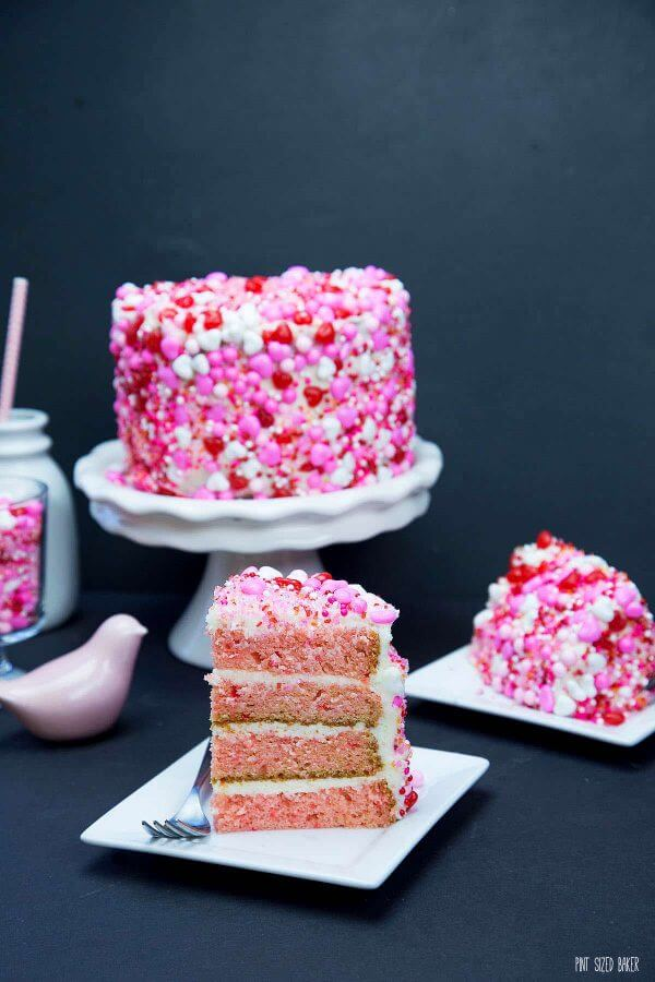 Your favorite Strawberry Cake and Vanilla Frosting all rolled in sprinkles. I'll show you just how easy this technique is to do!