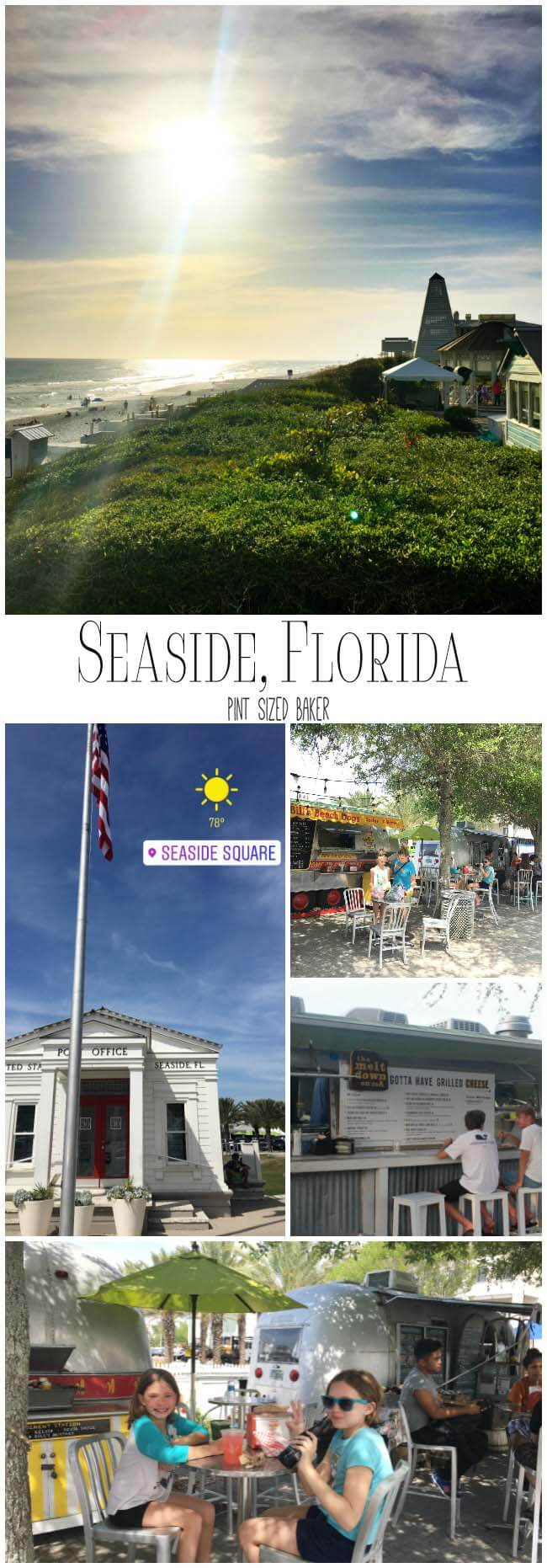Seaside, Florida is a planned community that is great for biking, walking, shopping and offers beautiful beaches to swim at.