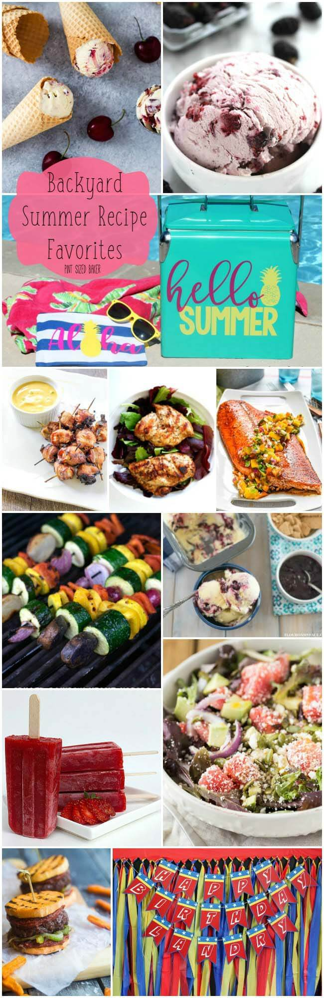 Get outside with the family and enjoy these Backyard Summer Recipe Favorites! Homemade ice cream, Grilled chicken, burgers and salmon, and some fun summer party decor.