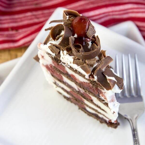 Those chocolate curls aren't just just show! They turn this no bake dessert into a work of art!