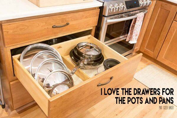 A drawer for pots and pans! YES PLEASE! I can get to all my pans and lids so easily now.