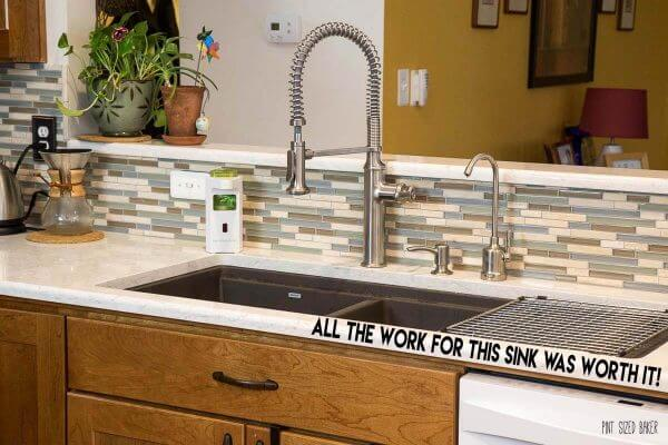 I love this large double bowl sink with built in drain and dry area!