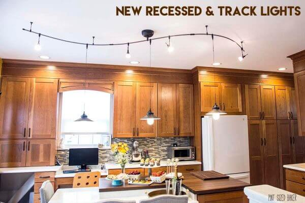 New recessed light and a track lighting system make a big difference in the kitchen.