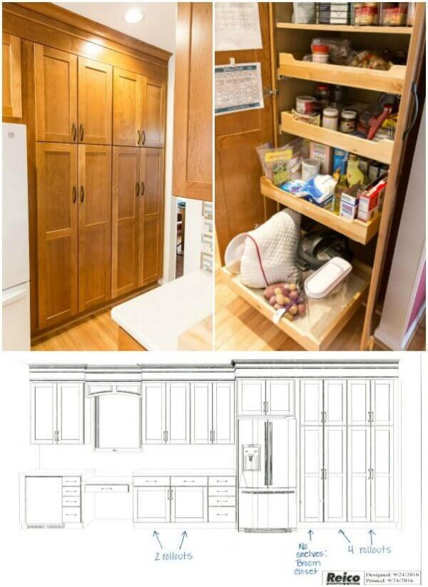 A built in pantry is stunning to look at and you can find what you need with pull out drawers inside. Life made simple!