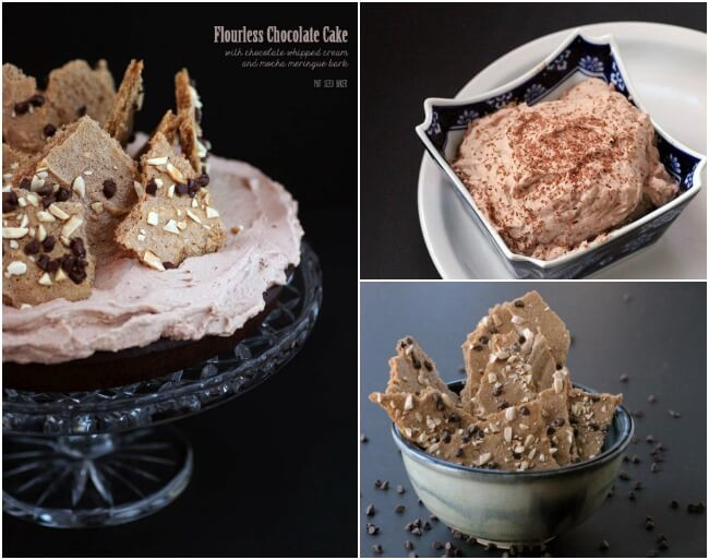 All three recipes are Naturally Gluten Free. Enjoy a Chocolate Fourless Cake with Chocolate Whipped Cream and Mocha Meringue Bark.