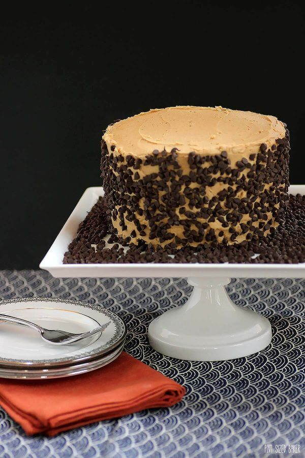 Chocolate Peanut Butter Cake with a chocolate layer cake and a center of peanut butter cookie dough and topped with peanut butter frosting.