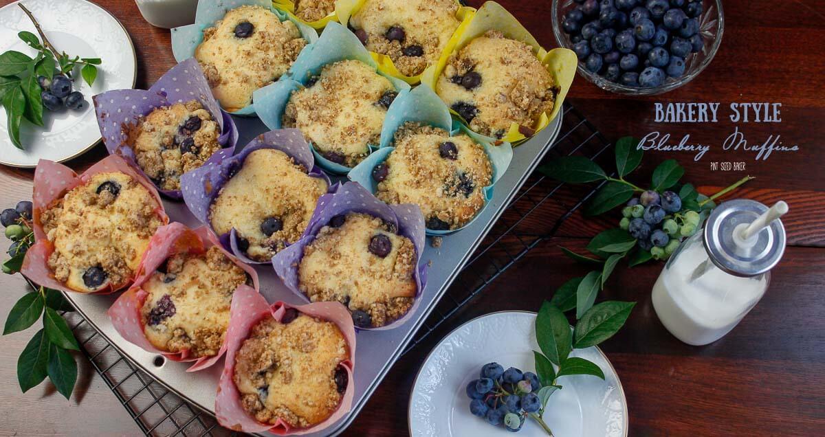 Bakery Style Blueberry Muffins - Pint Sized Baker