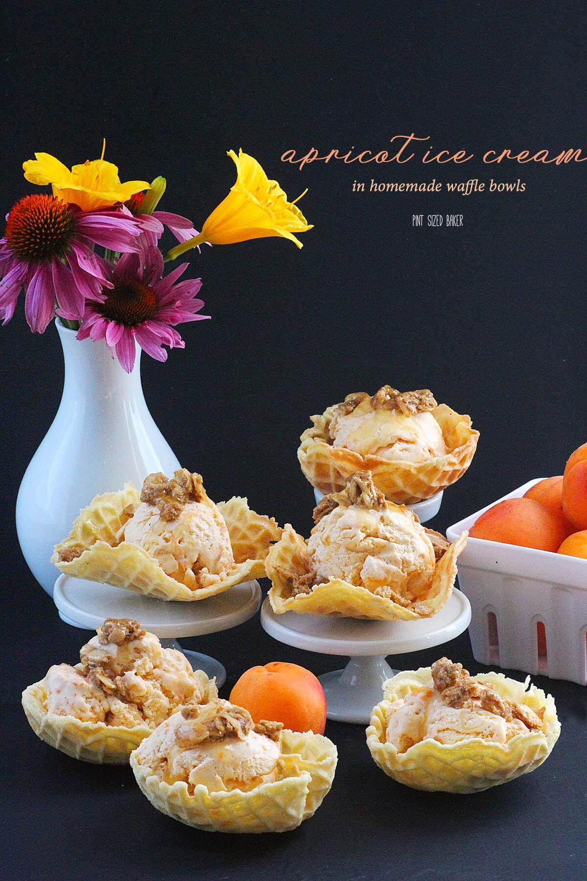 Homemade Waffle Bowls filled with tart apricot and creme fraiche ice cream and sweetened with brown sugar almonds and honey. The perfect adult indulgence.