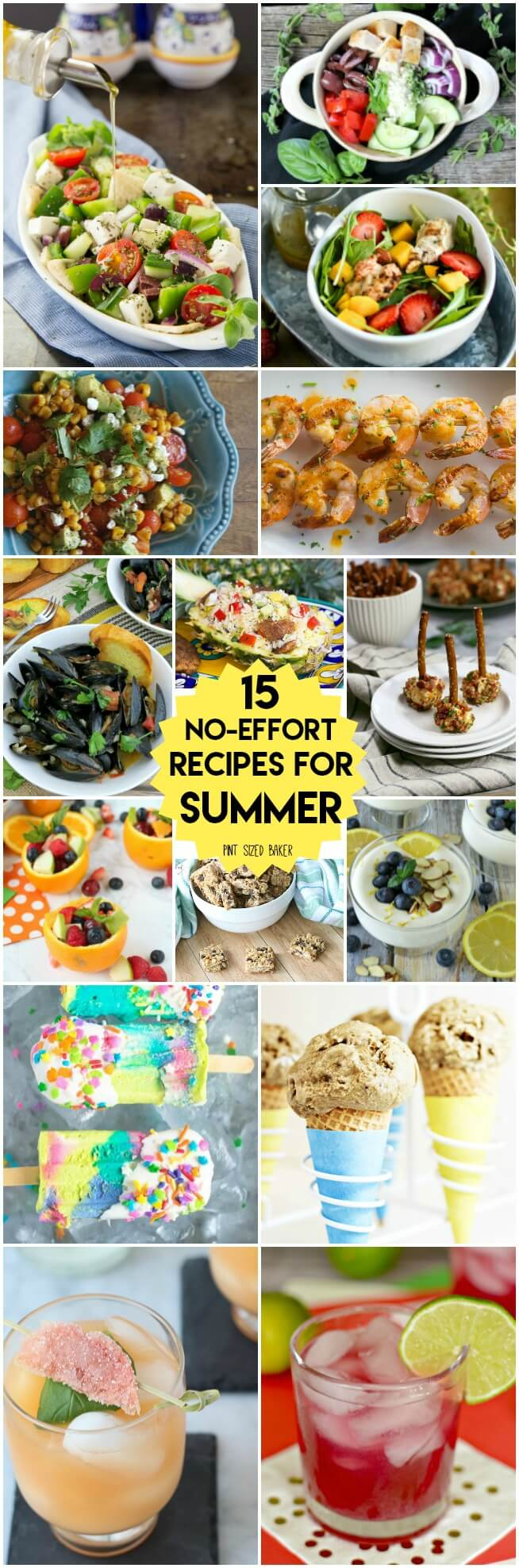 15 Perfect no effort recipes for summer. Load up on Salads, main dishes, desserts and drinks so that you can relax and enjoy the summer.