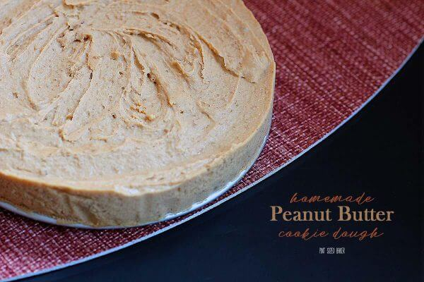 Homemade Peanut Butter Cookie Dough that is safe to eat and great to add to a layer cake!