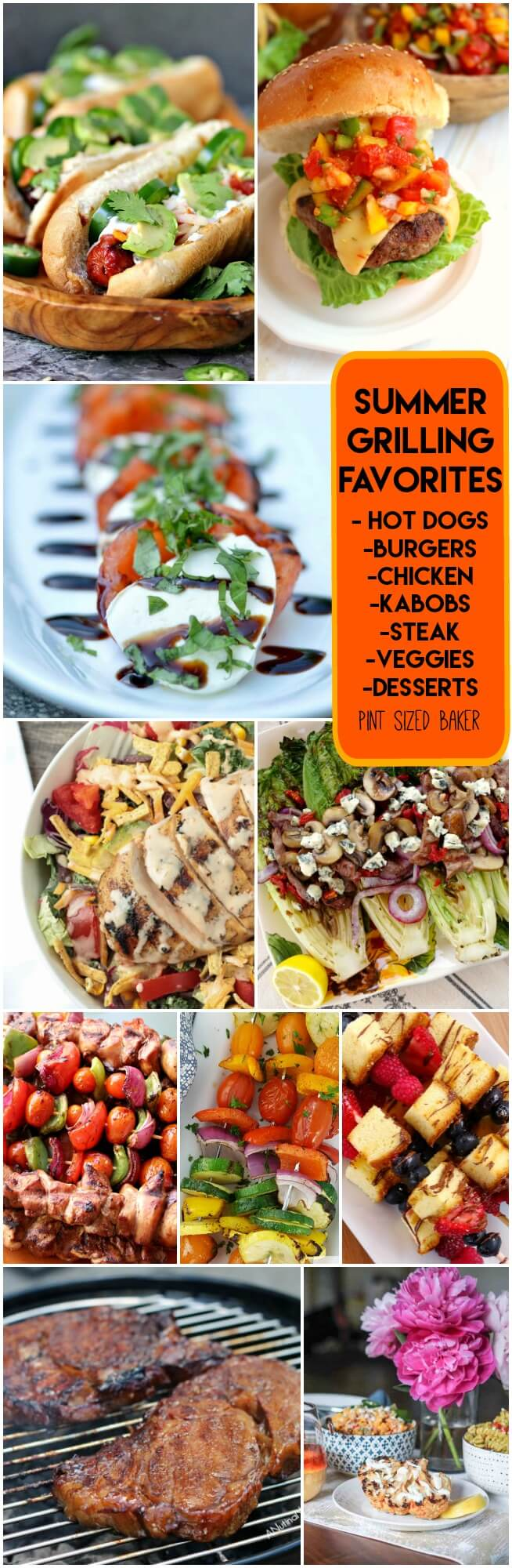 Summer Grilling Favorites! Ten great recipes you can make on the grill. Hot Dogs, Burgers, Veggies, Chicken and even dessert!