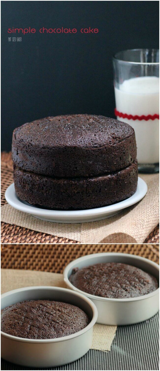 """Rich and Chocolaty - Easy Chocolate Cake from scratch. Makes two 9"""" round cakes."""