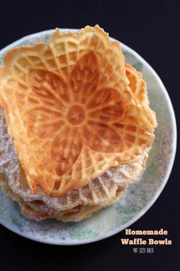 Homemade waffle bowls made from fresh made Pizzelle Cookies. They are so good!