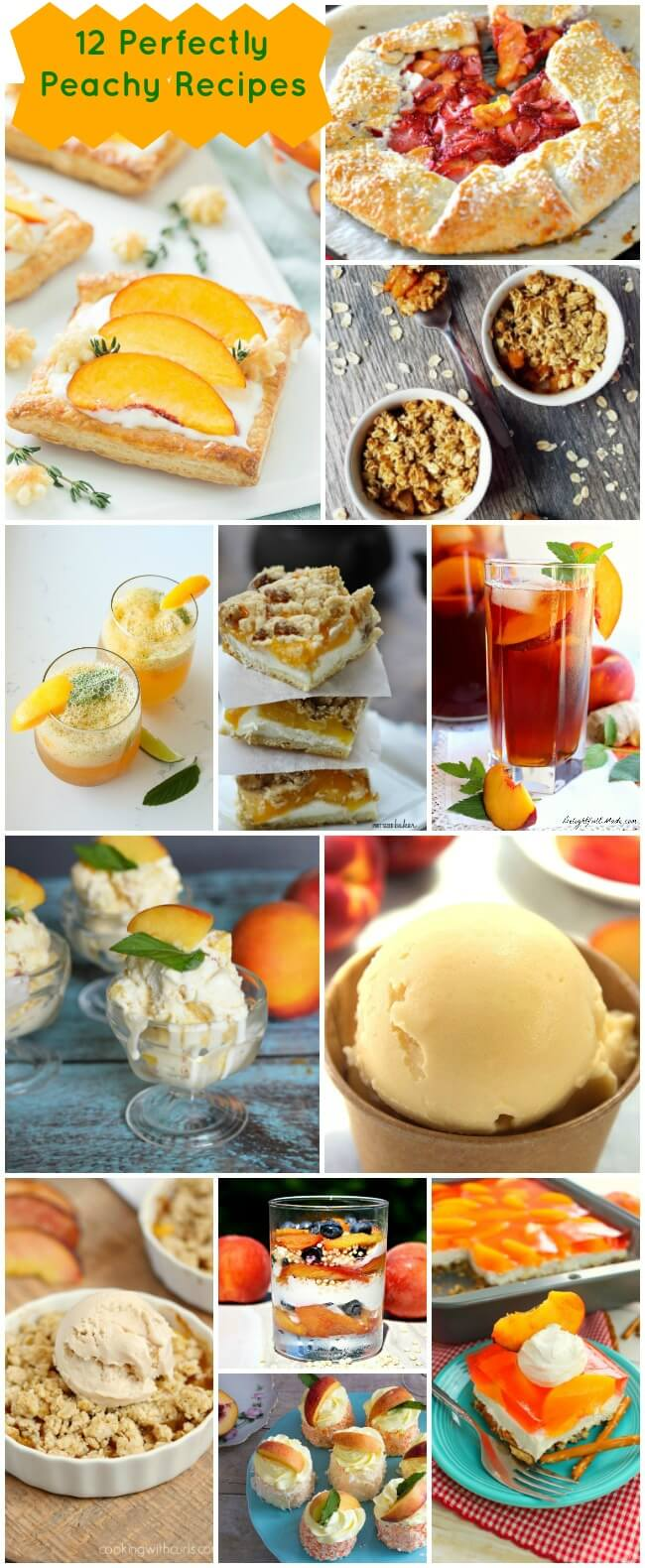 Enjoy 12 perfectly peachy recipes or breakfast, lunch, dinner and dessert. Add seasonal peaches to your pancakes, ice tea, and homemade ice cream.