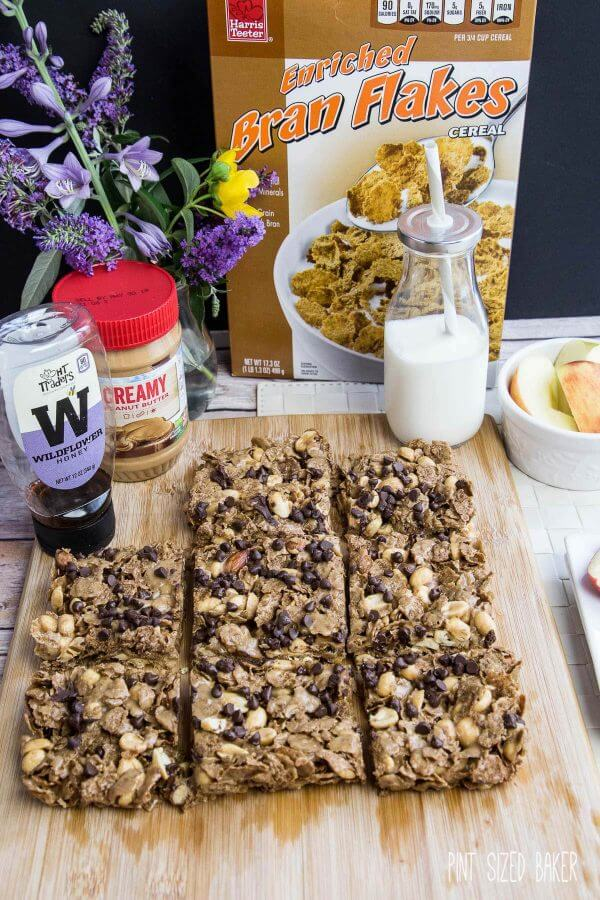 Homemade Bran Flake Breakfast bars have 6 ingredients and whip up in 10 minutes!