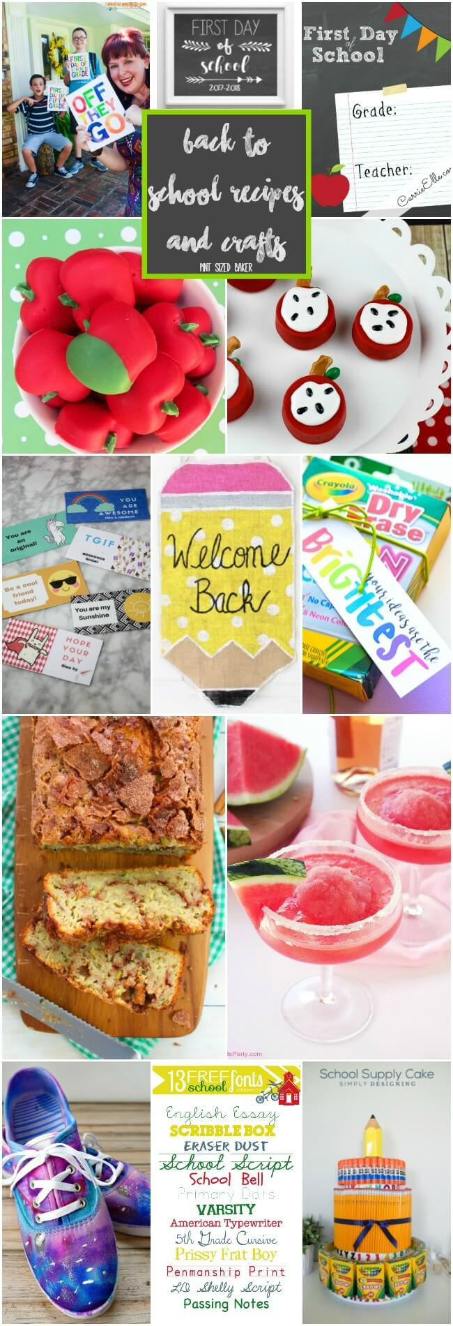 Start planing your back to school recipes and crafts. Here's a few printables, fun treats, easy DIY's and of course a cocktail for mama at the end of the hectic day.