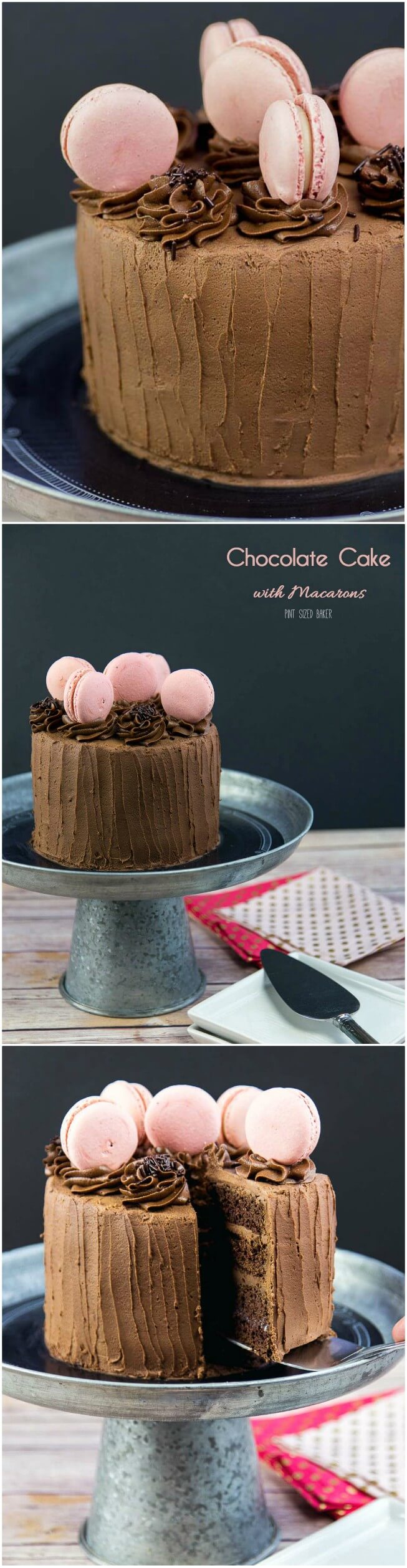 Bake a beautiful Chocolate Cake with Macarons for someone special. The cake and frosting is homemade, but the macarons are store bought.