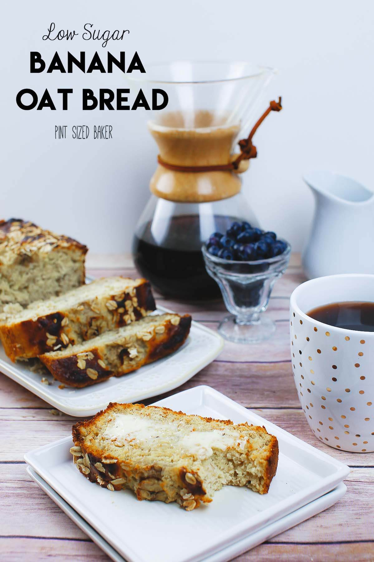 A delicious Low Sugar Banana Oat Bread Recipe that is perfectly moist, freezes well, and is perfect for breakfast with a strong cup of coffee.