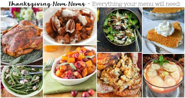 I've got all the Thanksgiving Nom Noms here for your menu. The perfect Turkey, stuffing, salad, potatoes, green beans and pumpkin pie! YUM!