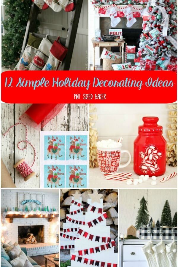 12 Simple Holiday Decorating Ideas that you can use to get your house into the Christmas spirit. Easy decor you can make, print, and buy.