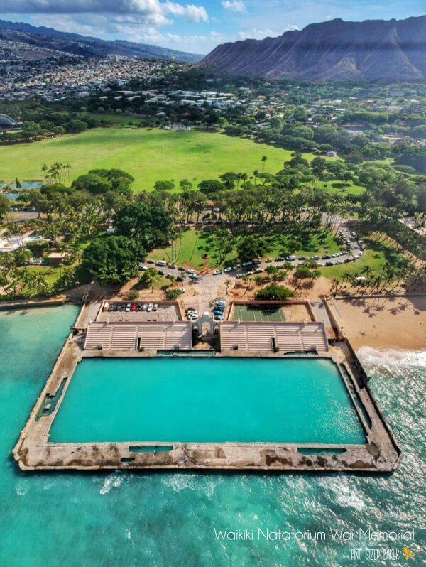 Unfortunately the Nataorium War Memorial is closed to the public. It's a good thing my drone could fly up and take a photo of the salt water pool. Droning over Oahu