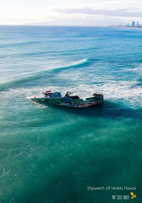 While I was Droning over Oahu, there was a shipwreck off of Waikiki Beach. I could only capture this shot with my drone.