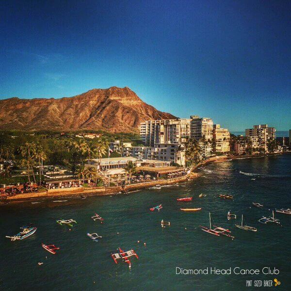 At the base of Diamond Head is the Honolulu Canoe Club. Have a bite to eat and watch all the boats come and go. Droning over Oahu
