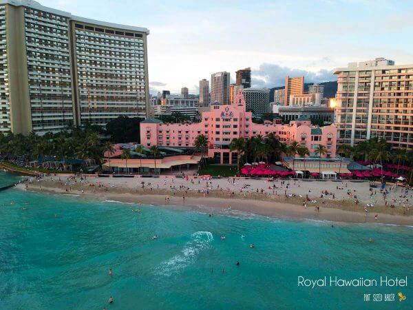 The Royal Hawaiian Hotel - also known as the Pink Hotel - is a great place to watch the sunset while enjoying a Mai Tai on the beach. Droning over Oahu