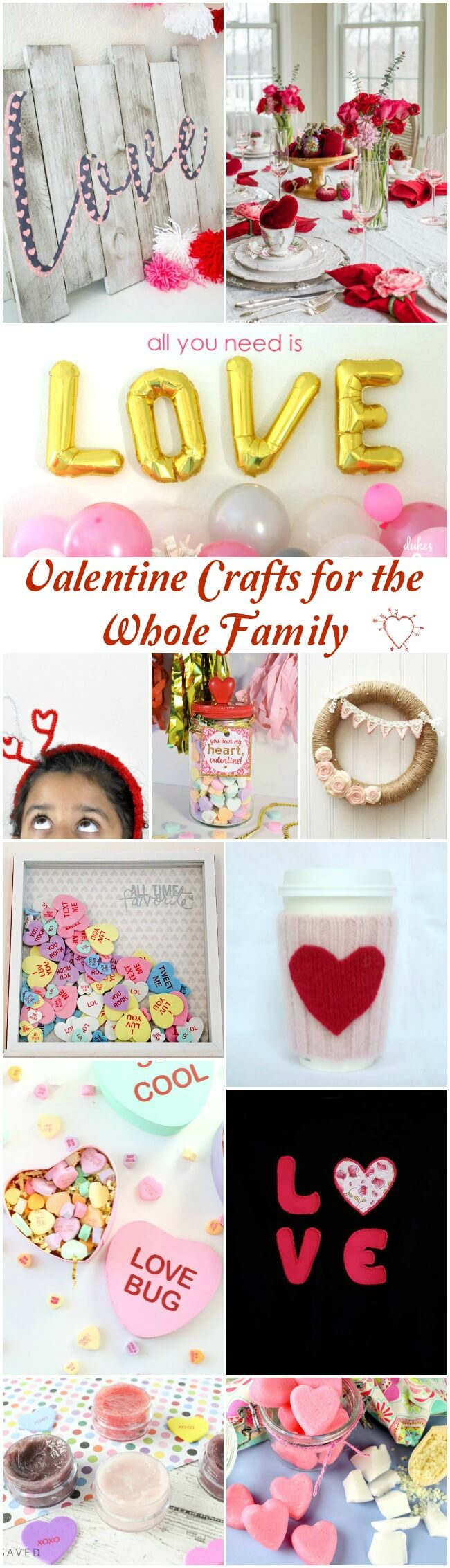 A collage image with over a dozen of the Valentine Day crafts that are included in the round up post.