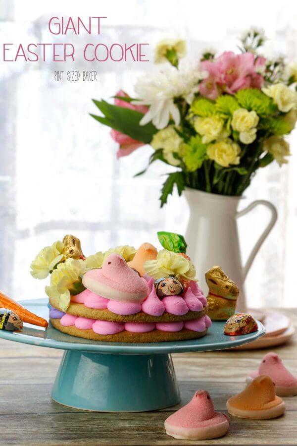 Swap out the Easter basket for a Giant Easter Cookie this year. It's a simple sugar cookie loaded up with frosting and fun Easter candy for the kids to enjoy.