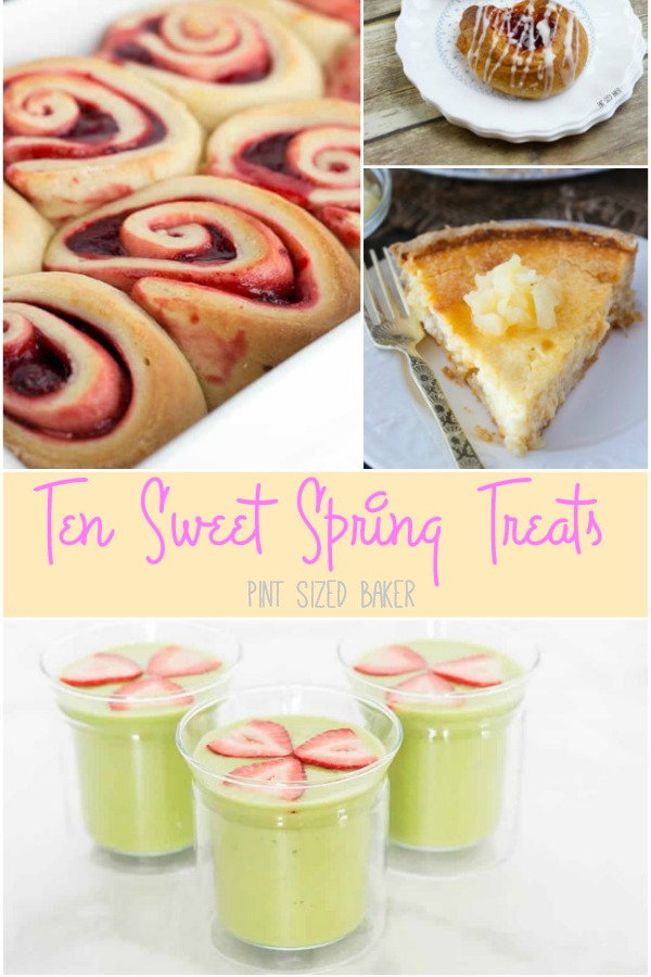 Spring time calls for fresh fruit bursting with flavor. Here's Ten Sweet Spring Treats that are full of strawberries, lemons, cherries and more! Taste the rainbow!