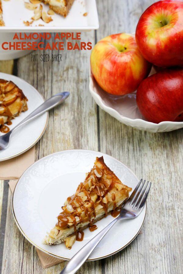 This quick and easy Almond Apple Cheesecake Recipe is going to be your new favorite treat. It combines sweet cinnamon apples with cheesecake that is perfect with some caramel sauce.