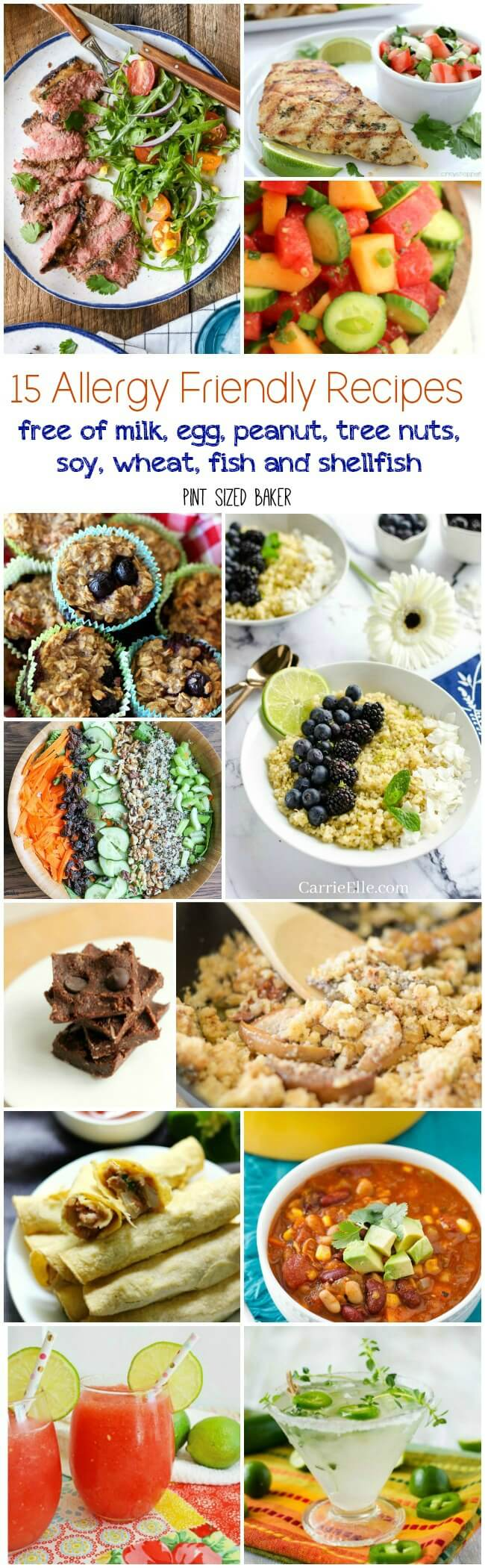 15 Allergy Friendly Recipes you can make so you can invite everyone over to your next dinner party! These recipes contain NONE of the common food allergy items - NOmilk, egg, peanut, tree nuts, soy, wheat, fish and shellfish.