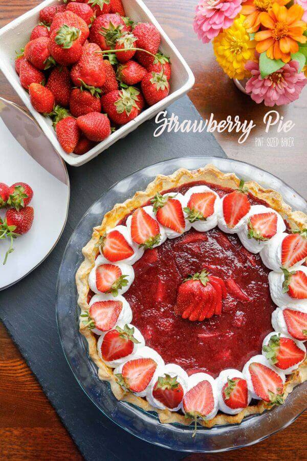 This Strawberry Pie recipe is oh so good! I love the jam like strawberry filling! It makes the perfect dessert at a tea party!