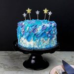 Spatula Painted Cake - The easiest way to decorate a Galaxy Birthday Cake for your little one. This painted technique looks like an oil painting.