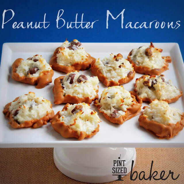 What's better than a Coconut Macaroon? Peanut Butter Macaroons! These easy cookies are loaded with PB candies and dipped into peanut butter candy coating.