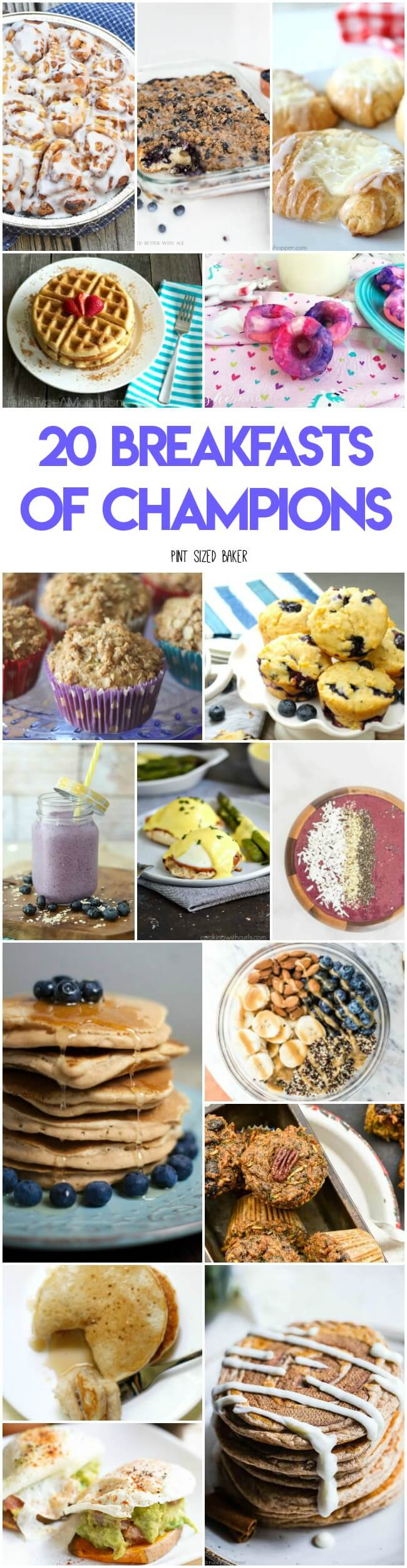 Here's 20 Breakfasts of Champions the whole family will enjoy. Fun weekend ideas, healthy options to get the kids started right, and triditional options.