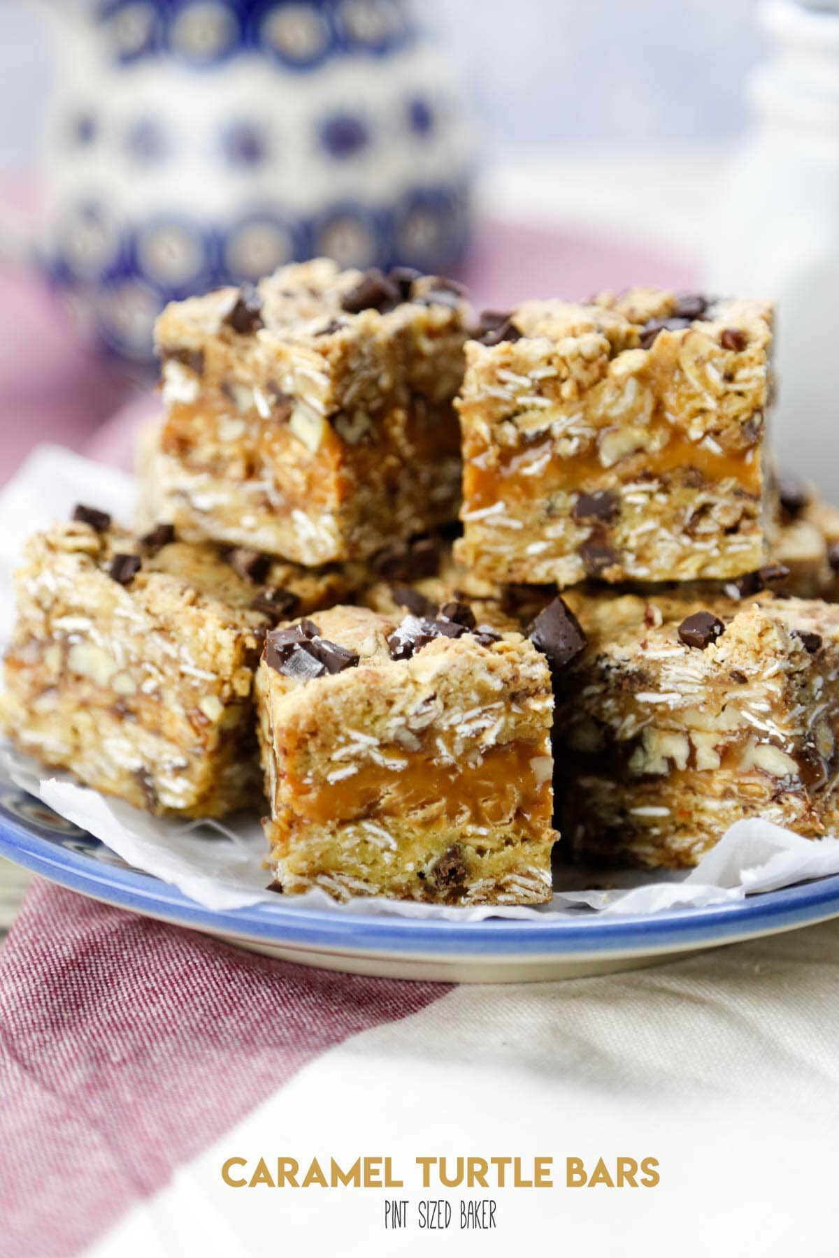 The sweet flavors of caramel, chocolate and pecans come together in this easy recipe that starts with a cake mix. Caramel Turtle Bars are gonna be your new favorite dessert to bake!