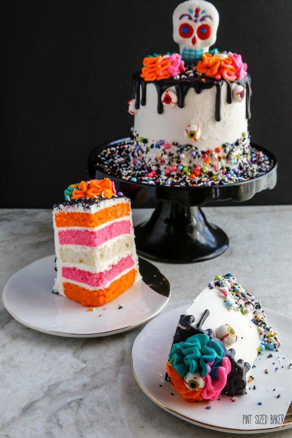 Día de los Muertos - Day of the Dead Cake in bright colors of pink and orange with a hint of turquoise.