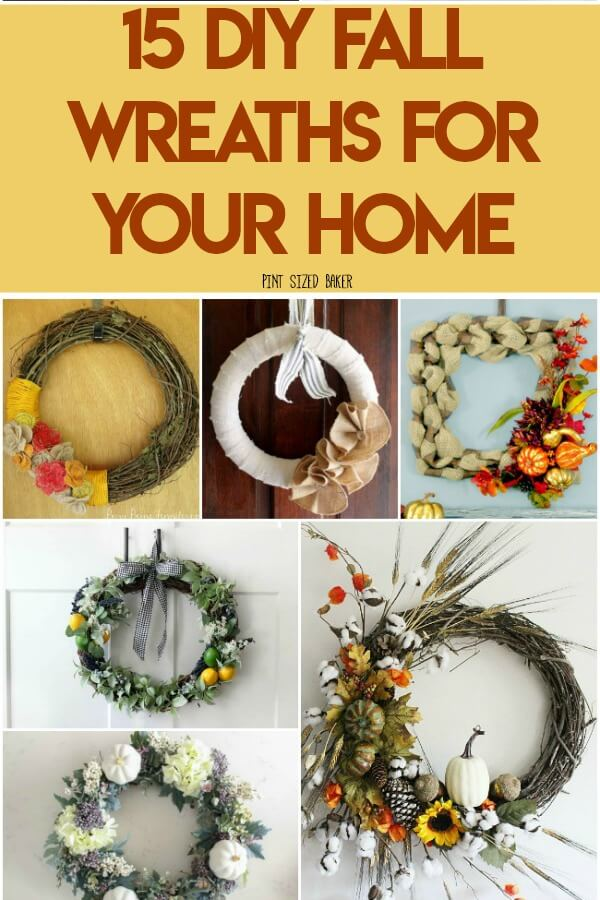 Fall is here! That means it's time to update the house with these 15 DIY Fall Wreaths for your home. Find the perfect one for your home and make it work!