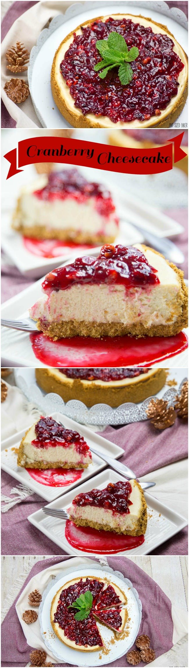 An easy Cheesecake recipe with the best homemade cranberry sauce on top. This Cranberry Cheesecake was the hit of my party!