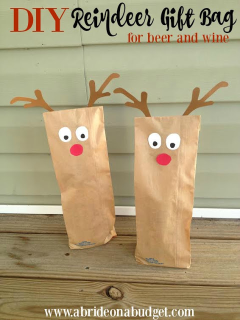 DIY Reindeer Gift Bag For Beer & Wine Thank You Gifts