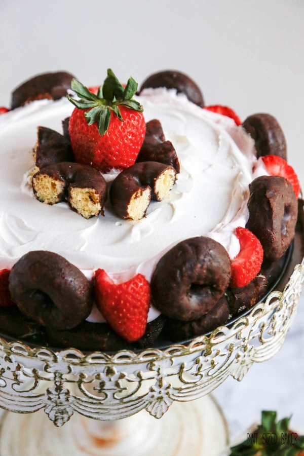 Who can resist Chocolate Donuts and sweet Strawberries. This strawberry Mousse Charlotte is perfect for dessert!