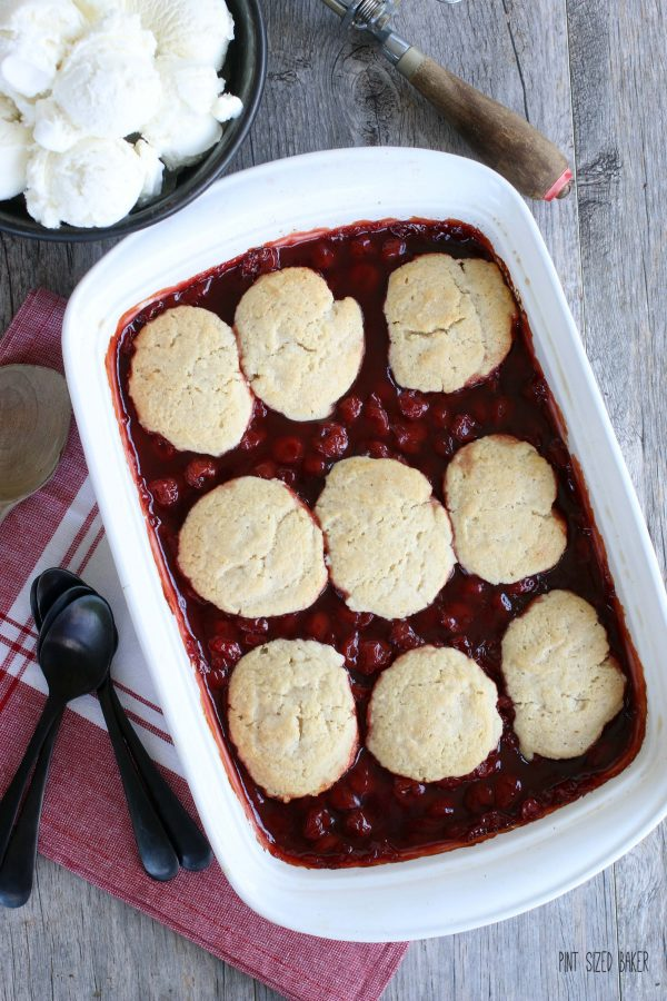 Overhead view of an easy cherry cobbler recipe fresh from the oven.