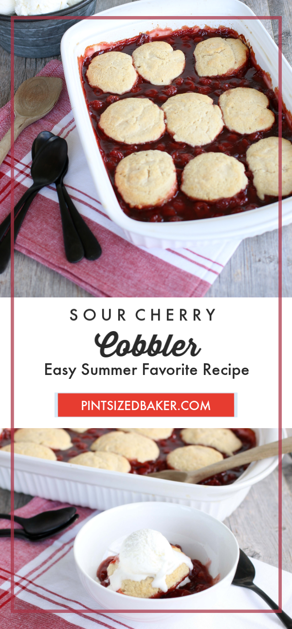 Cherry Cobbler is the must have summer dessert. Whether you use canned or fresh cherries in season this recipe screams summertime. The tartness of the sour cherries along with the sweetness of the other ingredients are the perfect balance.