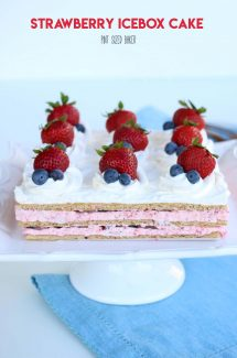 Icebox Cake Recipe with fresh strawberries and blueberries on a pedestal stand.