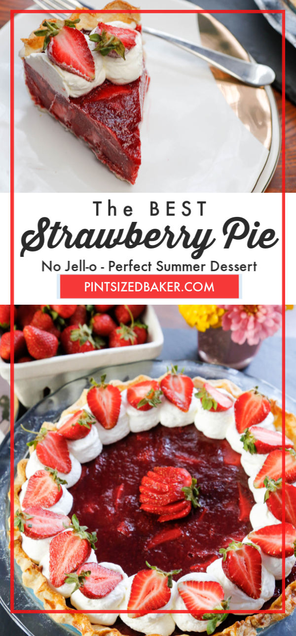 The BEST Strawberry Pie is loaded up with three pounds of fresh picked strawberries. This recipe relies on all natural pectin and not on Jell-o.