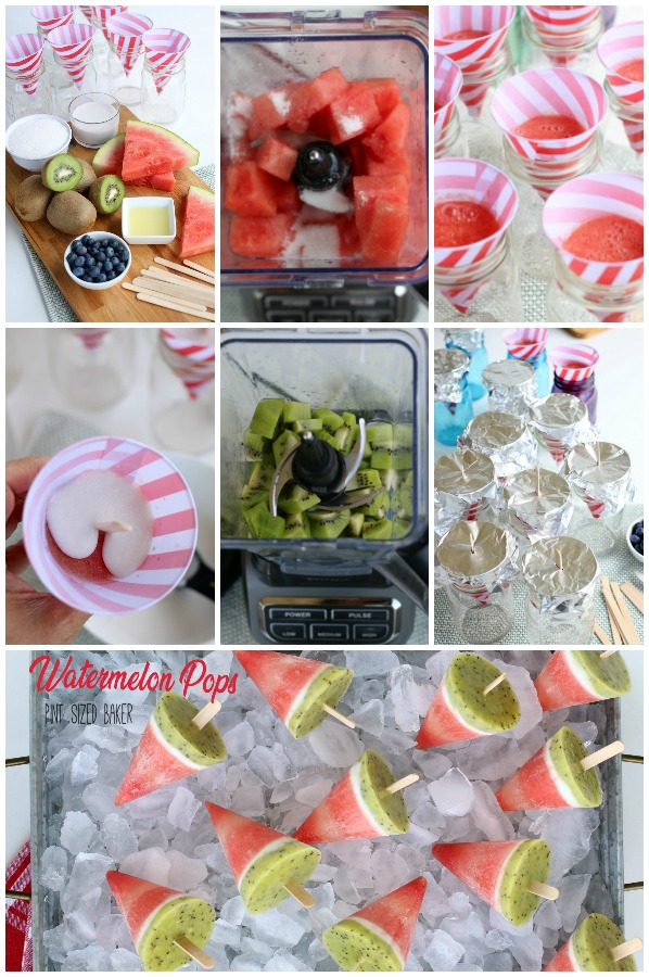 Collage of the steps to make the watermelon pops.